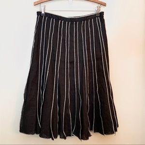 Linen pleated midi skirt